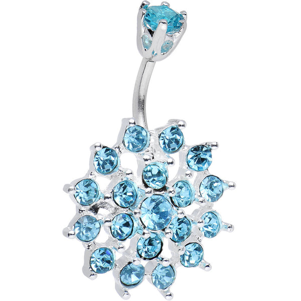 925 Sterling Silver Aqua CZ Sparkling Nettle Flower Belly Ring