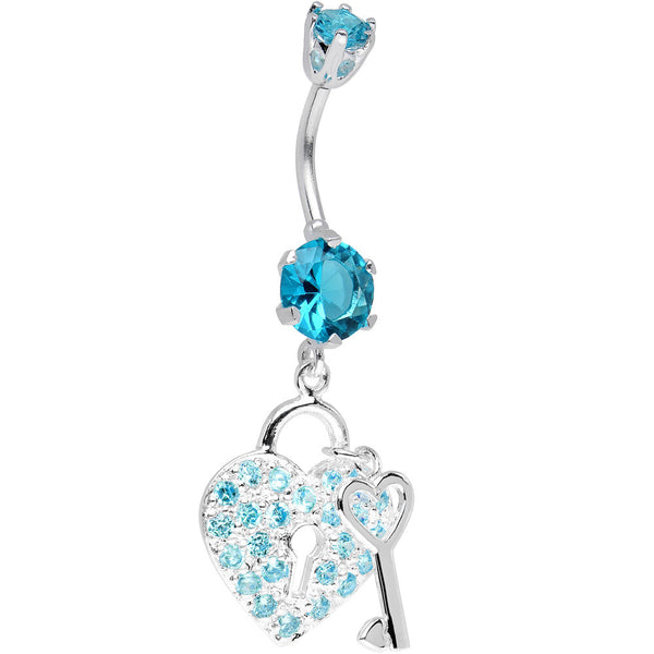 925 Sterling Silver Aqua CZ Secret Love Heart Lock Dangle Belly Ring