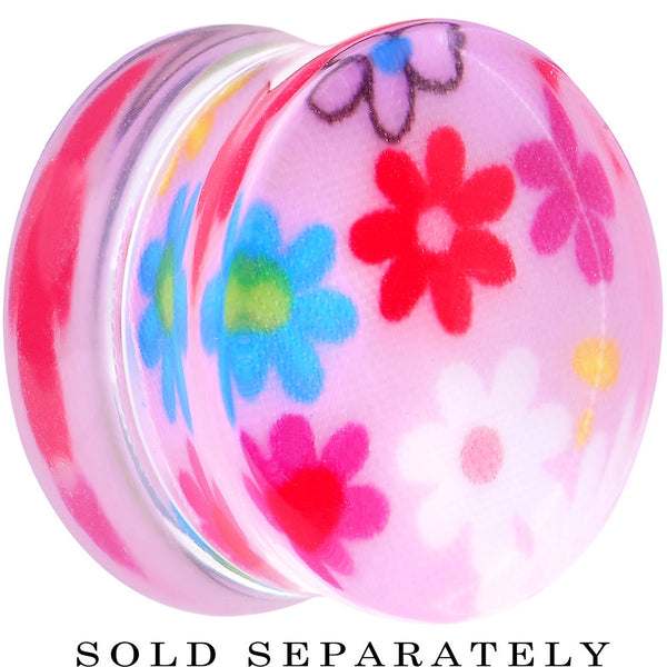 22mm Acrylic Pink Multicolored Flower Power Saddle Plug