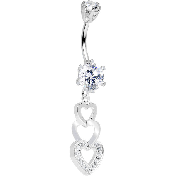 925 Sterling Silver Clear CZ Triple Hollow Hearts Dangle Belly Ring