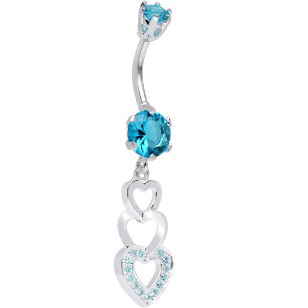925 Sterling Silver Aqua CZ Triple Hollow Hearts Dangle Belly Ring