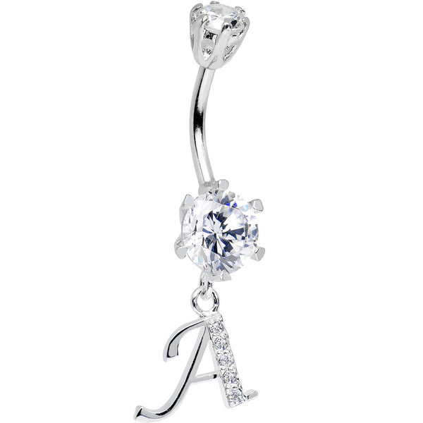 925 Sterling Silver Clear CZ Ornate Script Initial A Dangle Belly Ring
