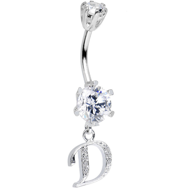 925 Sterling Silver Clear CZ Ornate Script Initial D Dangle Belly Ring