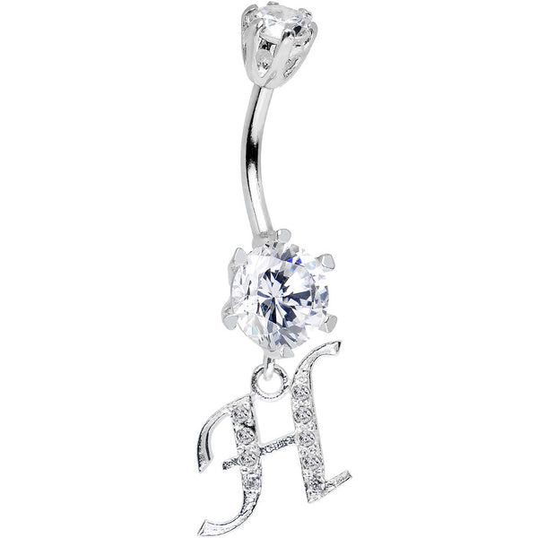 925 Sterling Silver Clear CZ Ornate Script Initial H Dangle Belly Ring