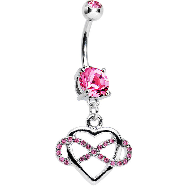 Pink Cubic Zirconia Infinite Love Heart Dangle Belly Ring