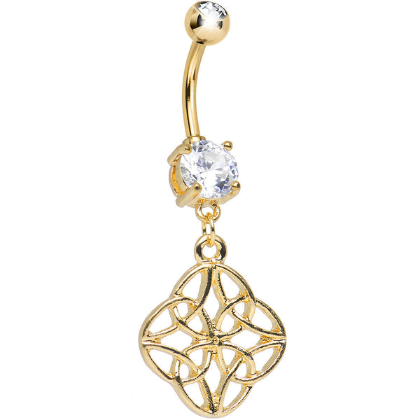 Clear CZ Gold Anodized Titanium Celtic Wonder Dangle Belly Ring
