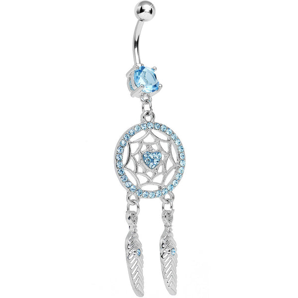 Aqua Cubic Zirconia In Love With a Dreamcatcher Dangle Belly Ring