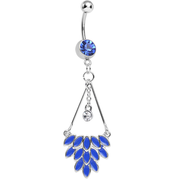 Blue Gem Caribbean Breeze Ladies Fan Dangle Belly Ring