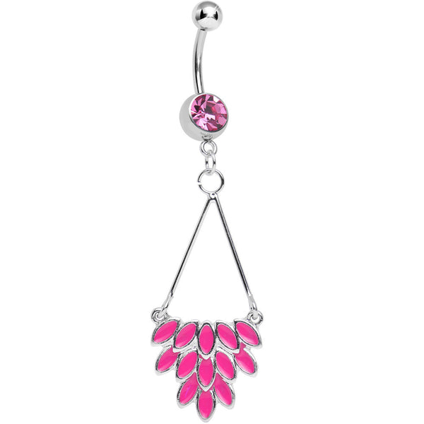 Pink Gem Caribbean Breeze Ladies Fan Dangle Belly Ring