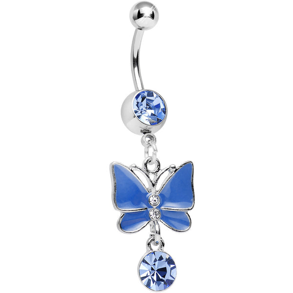 Blue Gem and Crystal Drop Alluring Butterfly Dangle Belly Ring