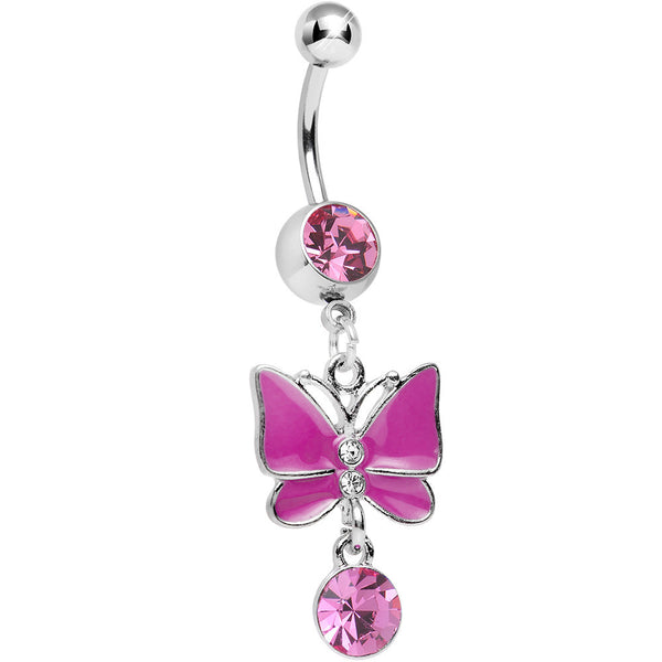 Pink Gem and Crystal Drop Alluring Butterfly Dangle Belly Ring