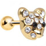 Clear CZ Gold Plated Sweet Teddy Bear Tragus Cartilage Earring