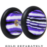 Purple White Black Stone Animal Stripe Cheater Plug