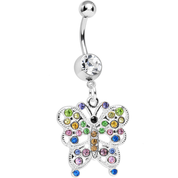Clear Gem Dazzling Multicolored Butterfly Dangle Belly Ring