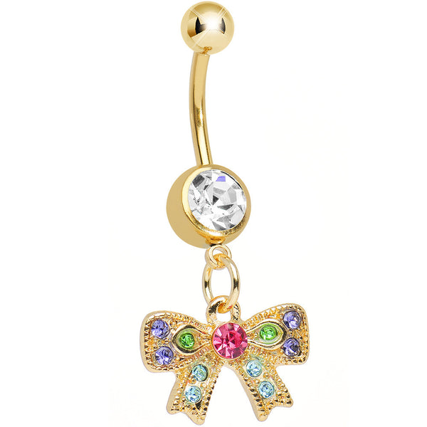 Clear Gem Gold Plated Kaleidoscopic Bow Dangle Belly Ring
