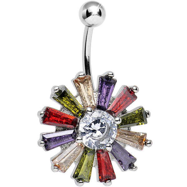 Clear Gem Multicolored Morning Sunburst Belly Ring