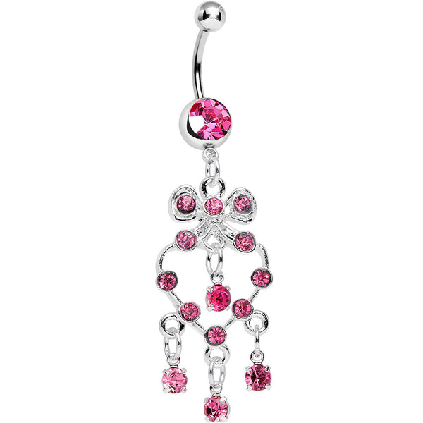 Pink Gem Bow Tie Decorative Hollow Heart Dangle Belly Ring