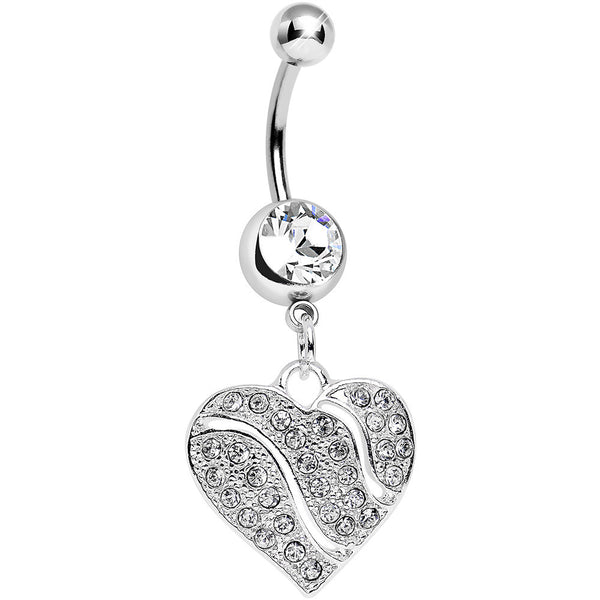Clear Gem Sparkling Rivers of Love Heart Dangle Belly Ring