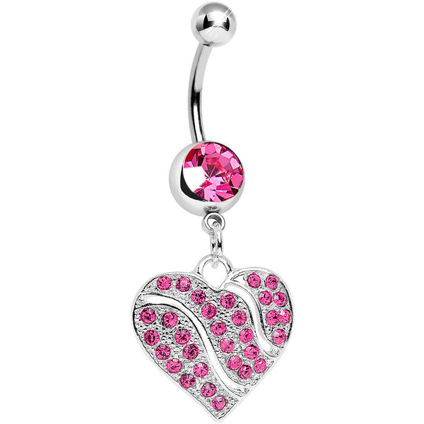 Pink Gem Sparkling Rivers of Love Heart Dangle Belly Ring