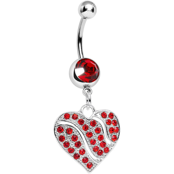 Red Gem Sparkling Rivers of Love Heart Dangle Belly Ring