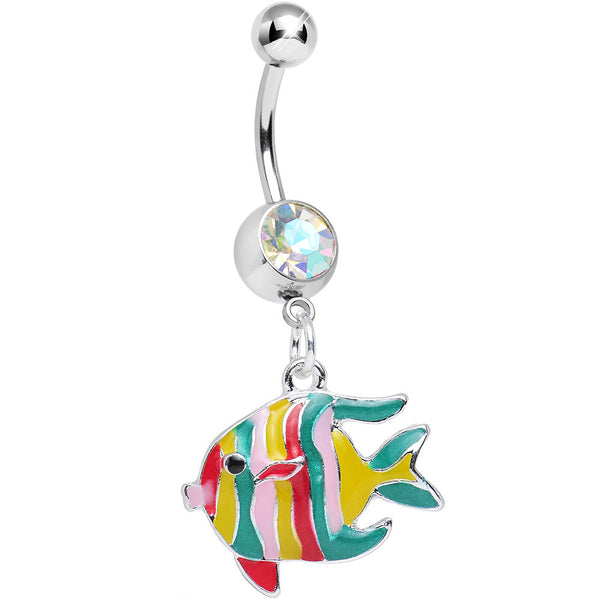 Aurora Gem Rode the Rainbow Fish Dangle Belly Ring