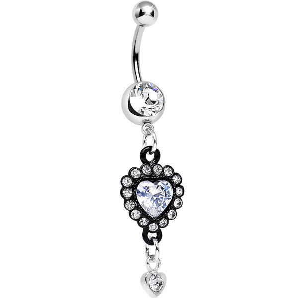 Clear Gem Ornate Black Lacework Heart Dangle Belly Ring