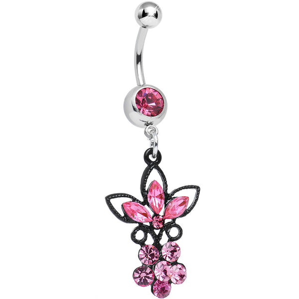 Pink Gem Power of the Dual Black Flower Dangle Belly Ring