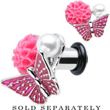 2 Gauge Pink Acrylic Flower Pink Butterfly Single Flare Steel Plug