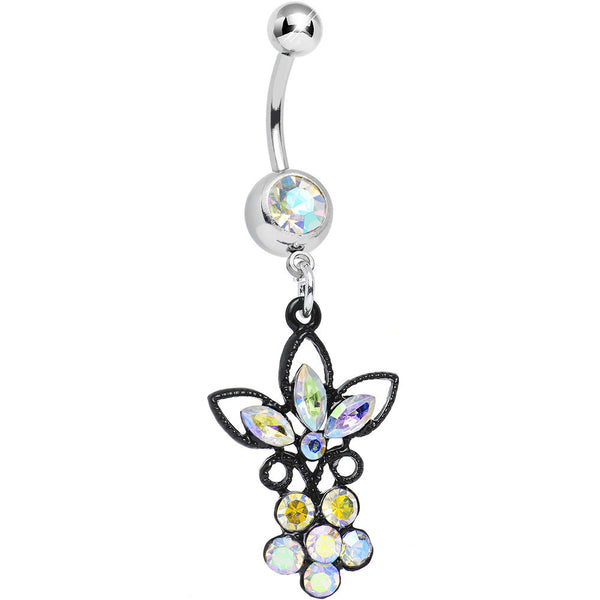 Aurora Gem Power of the Dual Black Flower Dangle Belly Ring