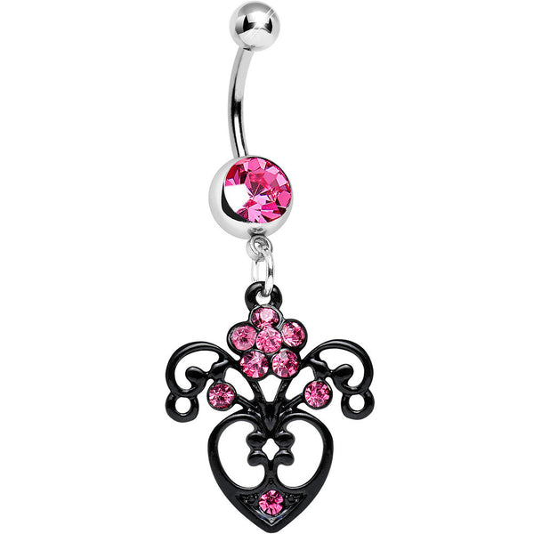 Pink Gem Ornamental Black Victorian Flowering Heart Dangle Belly Ring