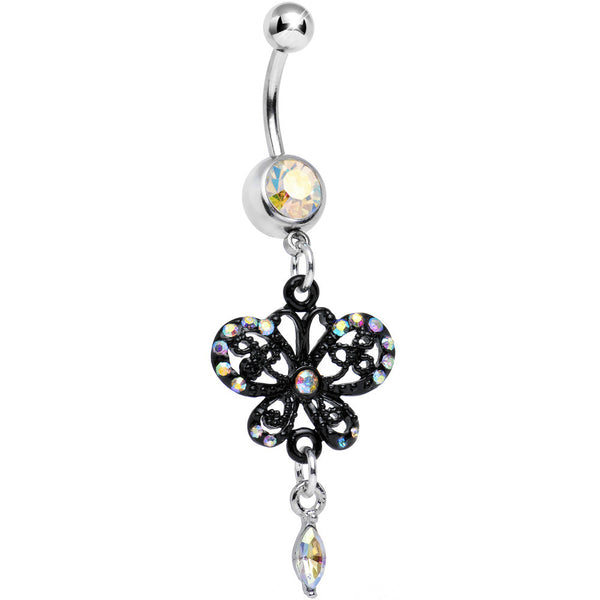 Aurora Gem Delicate Marquise Drop Black Butterfly Dangle Belly Ring