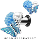 2 Gauge Blue Acrylic Flower Aqua Butterfly Single Flare Steel Plug