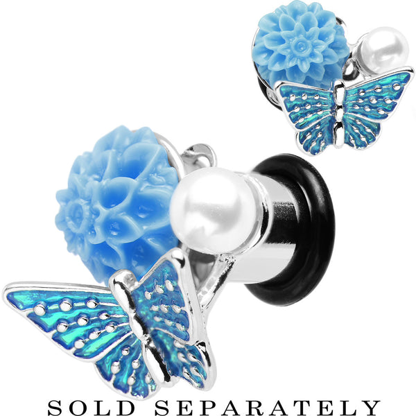 0 Gauge Blue Acrylic Flower Aqua Butterfly Single Flare Steel Plug