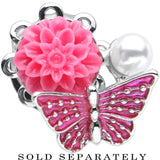 00 Gauge Pink Acrylic Flower Pink Butterfly Single Flare Steel Plug