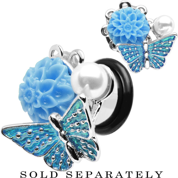 00 Gauge Blue Acrylic Flower Aqua Butterfly Single Flare Steel Plug