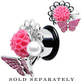 "1/2"" Pink Acrylic Flower Pink Butterfly Single Flare Steel Plug"