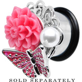 "9/16"" Pink Acrylic Flower Pink Butterfly Single Flare Steel Plug"
