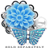 "9/16"" Blue Acrylic Flower Aqua Butterfly Single Flare Steel Plug"