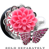 "5/8"" Pink Acrylic Flower Pink Butterfly Single Flare Steel Plug"
