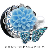"5/8"" Blue Acrylic Flower Aqua Butterfly Single Flare Steel Plug"