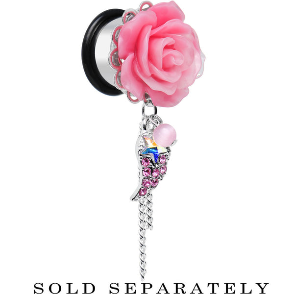 "9/16"" Pink Gem Angel Wing and Pink Rose Single Flare Dangle Plug"