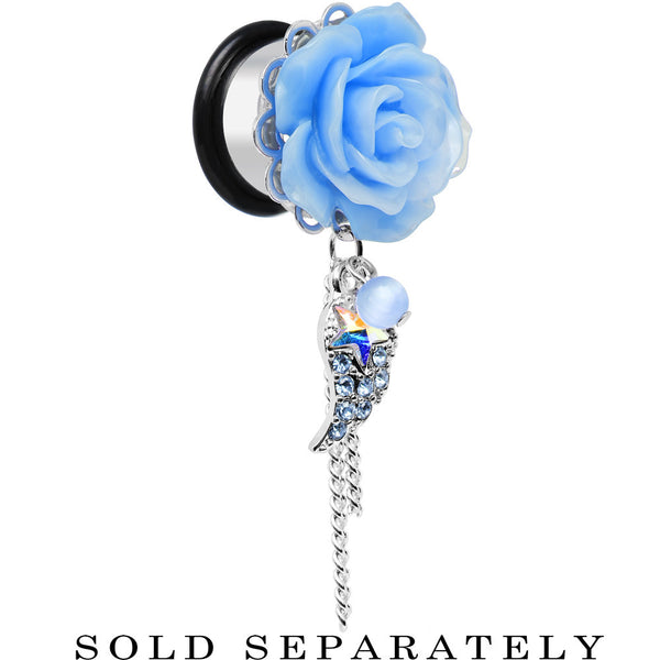 "9/16"" Aqua Gem Angel Wing and Aqua Rose Single Flare Dangle Plug"