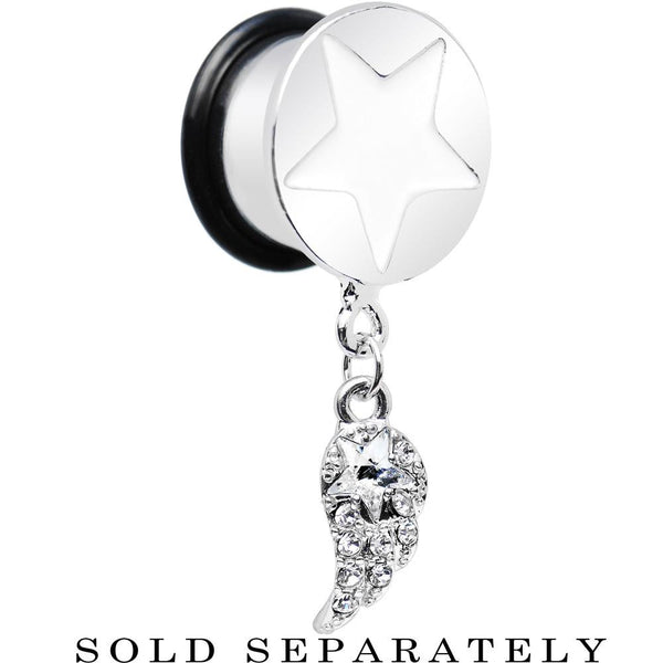 Clear Gem Angel Wing and White Star Single Flare Dangle Plug Sizes 5mm to 14mm