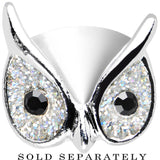 00 Gauge Clear Glitter Festive Owl Single Flare Steel Plug