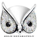 "9/16"" Clear Glitter Festive Owl Single Flare Steel Plug"