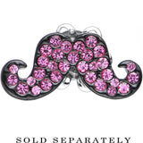 4 Gauge Pink Gem Paved Fancy Mustache Single Flare Steel Plug