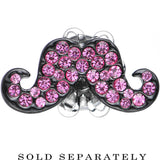 2 Gauge Pink Gem Paved Fancy Mustache Single Flare Steel Plug