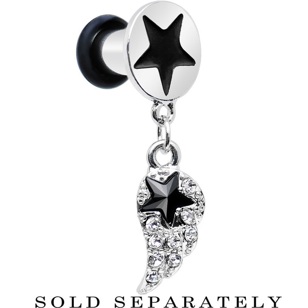 4 Gauge Clear Gem Angel Wing and Black Star Single Flare Dangle Plug