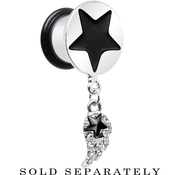 "1/2"" Clear Gem Angel Wing and Black Star Single Flare Dangle Plug"