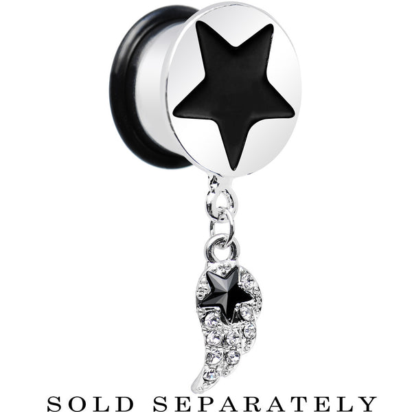 "9/16"" Clear Gem Angel Wing and Black Star Single Flare Dangle Plug"
